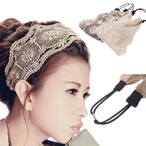 Details about EG  BA  WOMEN RETRO FLORAL LACE HEADBAND YOGA HEADWEAR HAIR  BAND WIDE HEADWRAP O 1e85215170c
