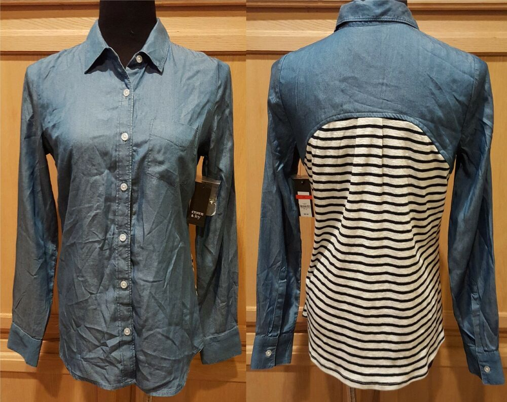 d105f7a6 Details about Crown Ivy Chambray Denim Button-Down Shirt w/Contrast Striped  Back, XS - $65