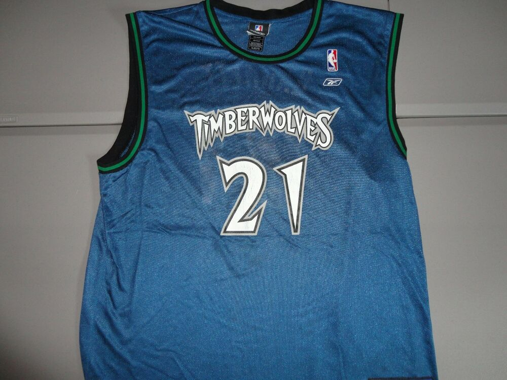 680d615ab78 VTG Blue Minnesota Timberwolves  21 Kevin Garnett NBA Basketball Jersey  Adult XL