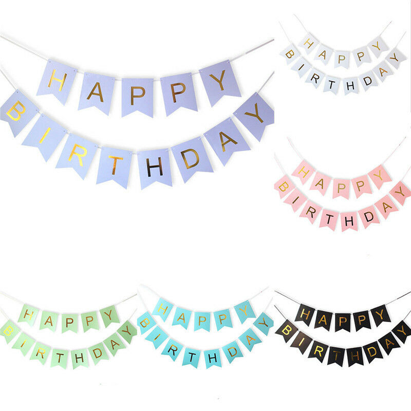 Glitter Paper Birthday Party Hanging Bunting Banner Flag: New Happy Birthday Bunting Banner Gold Letters Hanging