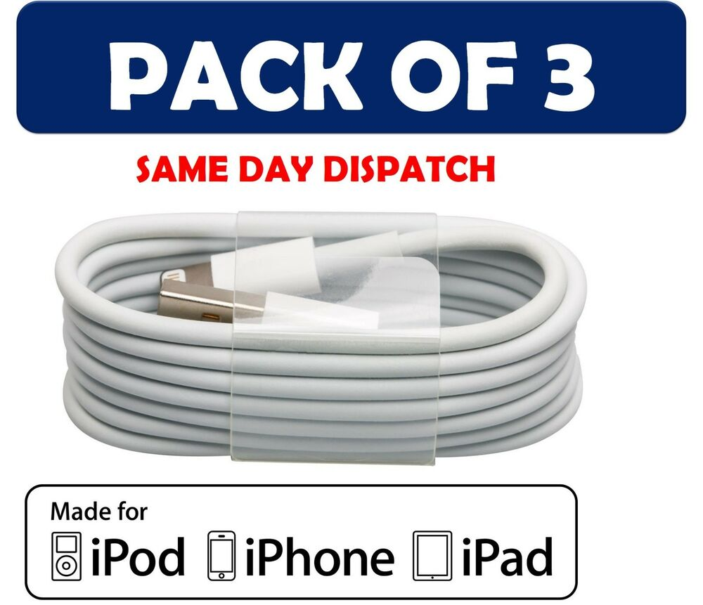 3x Genuine Lightning Sync Charger USB Data Cable For Apple ...