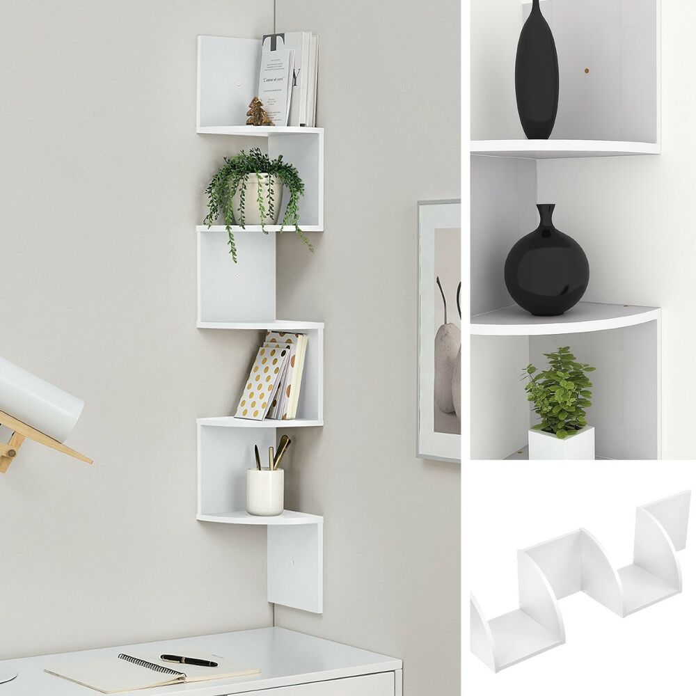 Details about new contemporary floating white wall mounted corner shelf home decor cds display