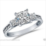 2.50 Ct Engagement Wedding 3-Stone Ring Real 14K White Gold Diamond Simulation