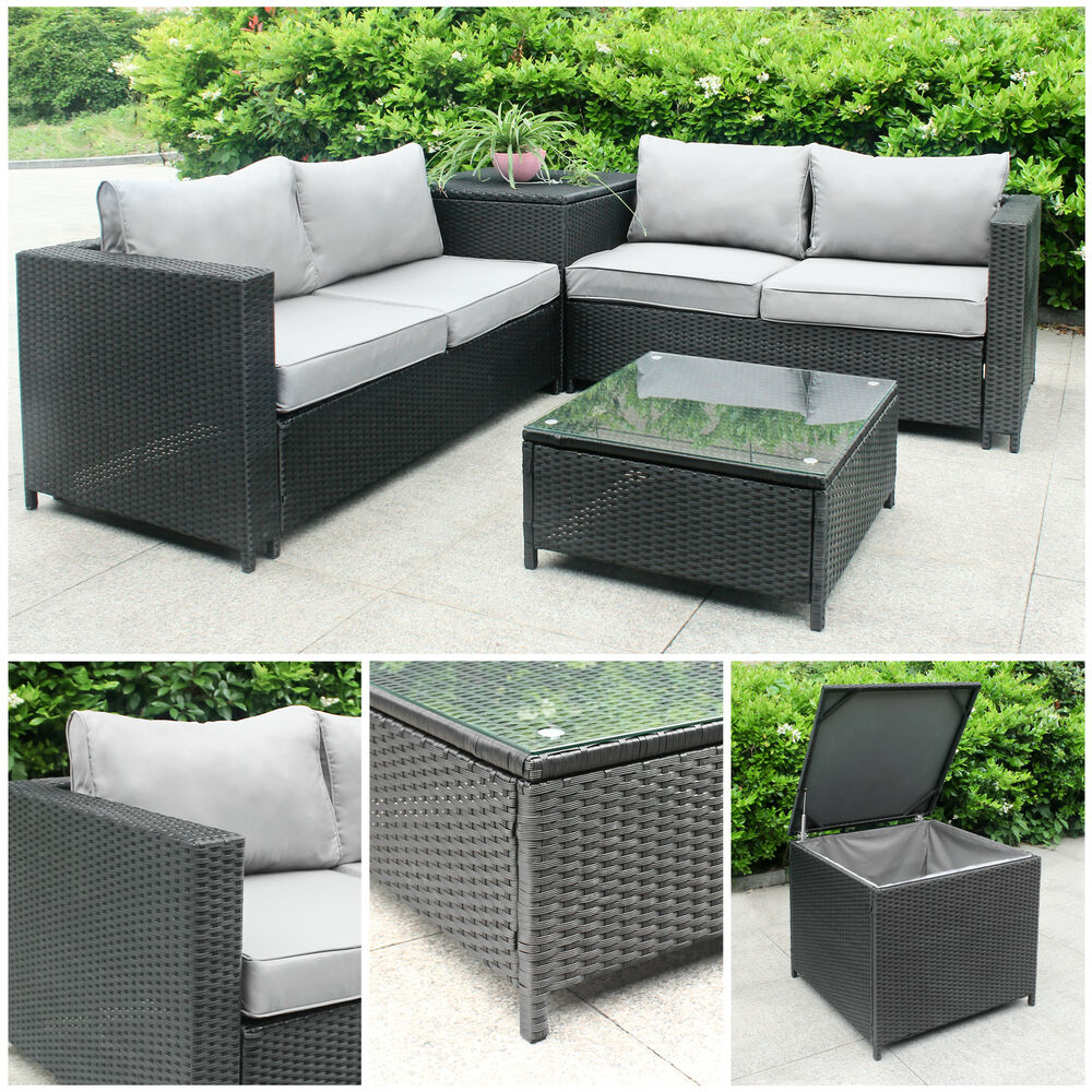 polyrattan rattan gartenm bel lounge sitzgruppe garnitur 4 sitze tisch kissenbox ebay. Black Bedroom Furniture Sets. Home Design Ideas