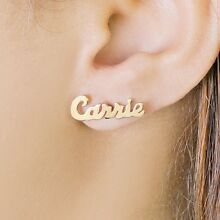 Personalized Sterling Silver and Gold Plated Stud Name Earrings Any Name Women's