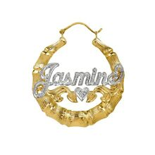 Personalized Sterling Silver and Gold Plated Round Bamboo Name Earrings Any Name