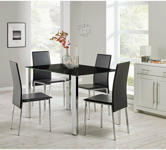 ORLANDO Rectangle Glass Dining Table Set And 4 Black Faux