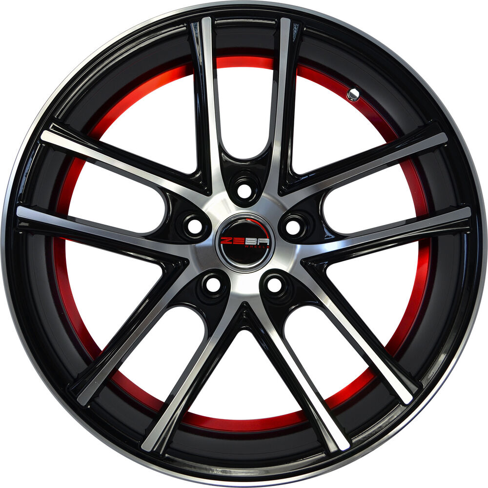 4 GWG Wheels 18 Inch Black Red ZERO Rims Fits ACURA TL