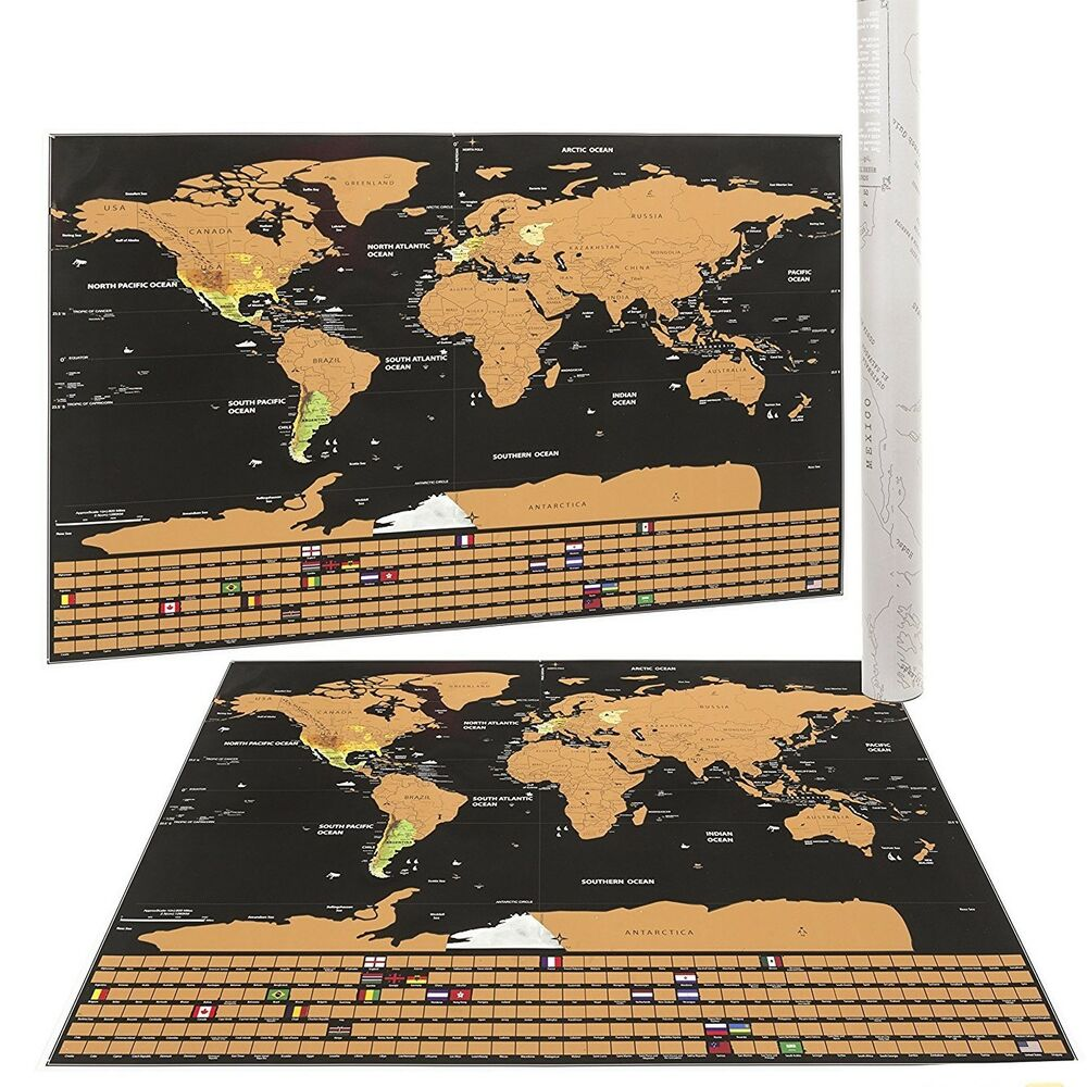 Scratch Off World Map With Us States.Mojco Scratch Off World Map Poster Us States Country Flags Size