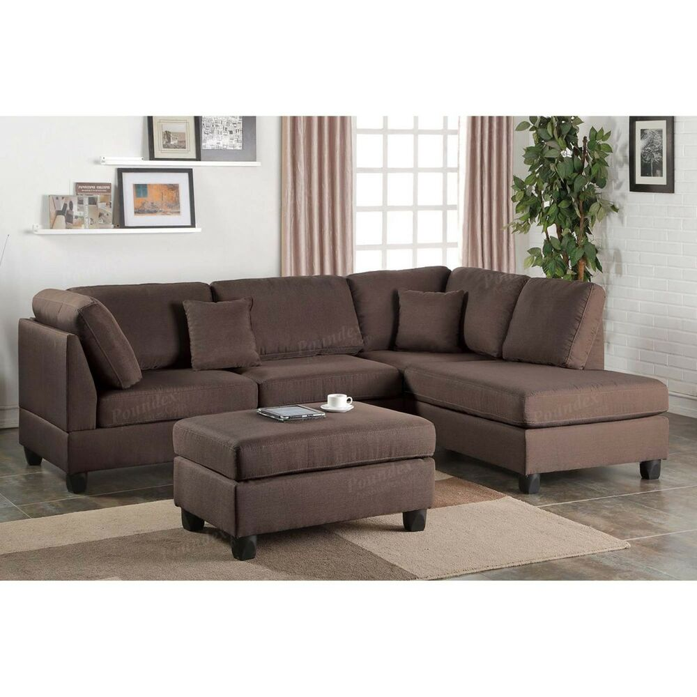 Detalles Acerca De Poundex 3 Pcs Chocolate Fabric Reversible Chaise Sectional Sofa Set