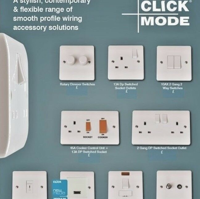 Click Mode White Moulded Light Switches & Sockets - Full Range 20 ...