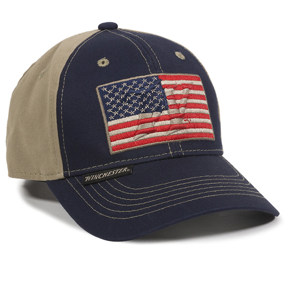 Winchester Adult American Flag Outdoors Cap Navy Khaki US Flag Hunting Hat  885792700921  d74c10503799