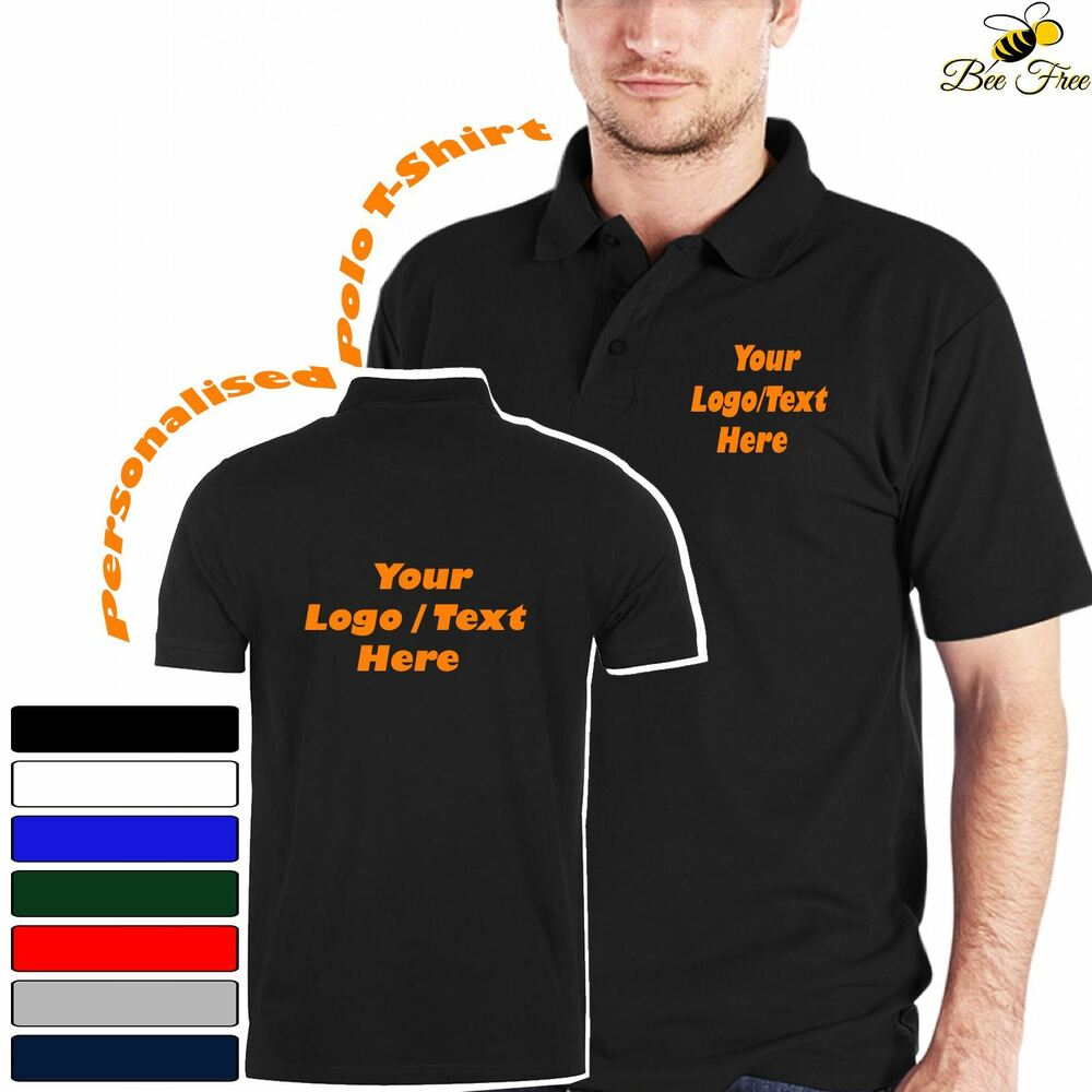 68d895b36 Details about New Personalised Custom Printed Text Logo Workwear Uniform Unisex  Polo T-Shirt