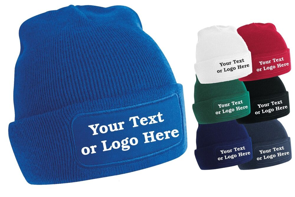 Details about Personalised Printed Beanie Hat Pullover Custom Wooley Hat  Unisex PB 64cd2c71373