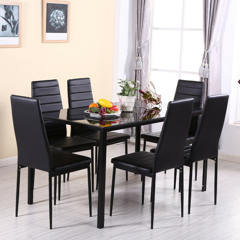 Mecor 7pcs Dining Table Set 6 Chairs Glass Metal Kitchen: High Gloss Glass Dining Table Set And 6 Leather Chairs