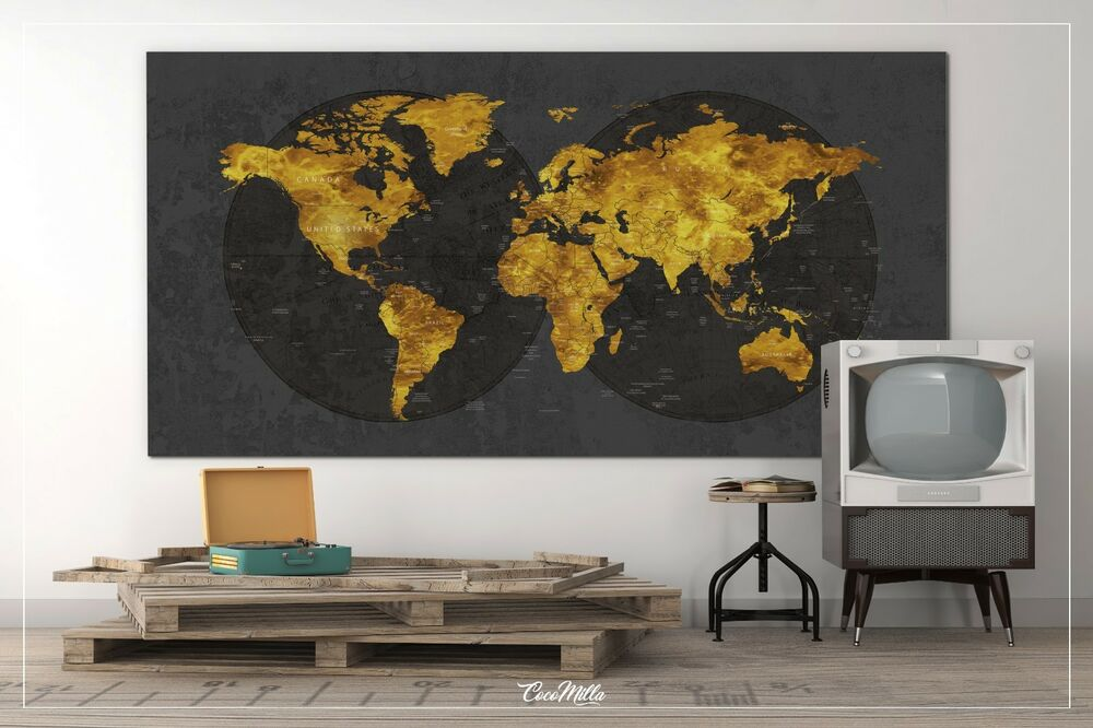 Large Canvas Map Of The World.Push Pin World Map World Map Extra Large Canvas Print Map Gold