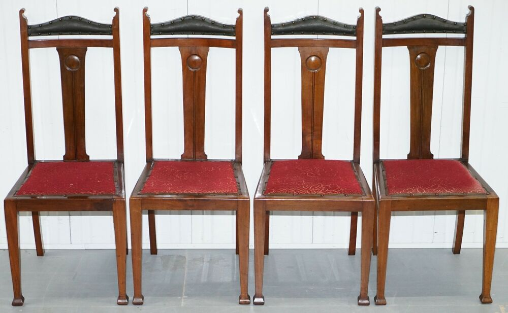 Set of four liberty 39 s london arts and crafts dining room chairs archibald knox 4 ebay - Arts and crafts dining room furniture ...