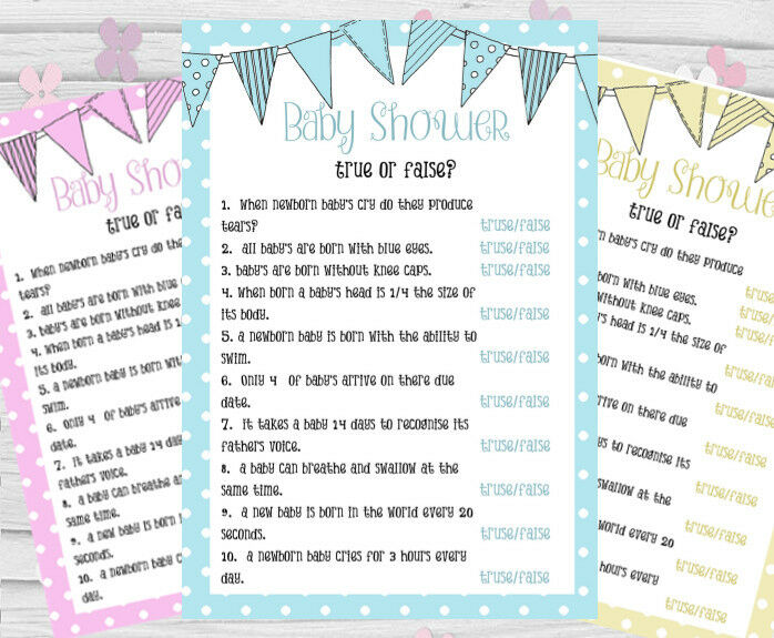 Baby Shower Games True Or False Quiz Cards Girl Boy Mum To Be