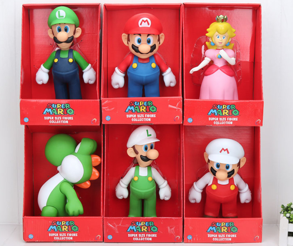 Super Mario Bros Action Figures Kids Toys Games 23cm PVC