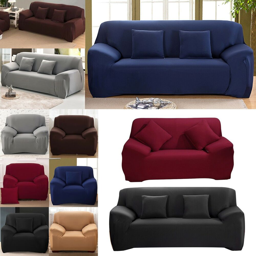 1/2/3 Seater Easy Sofa Soft Couch Slipcover Stretch Covers ...