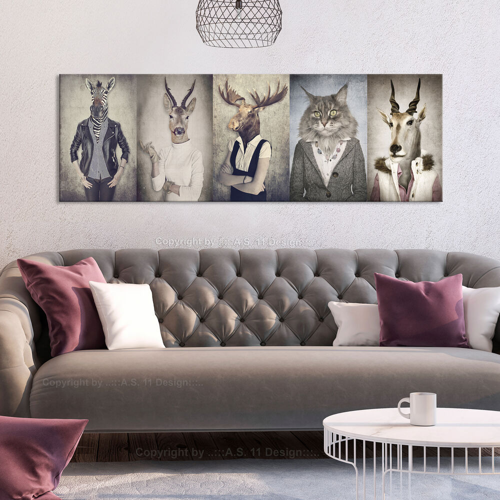 bilder leinwand bild tiere katze retro vintage menschen zebras hirsch wandbild ebay. Black Bedroom Furniture Sets. Home Design Ideas