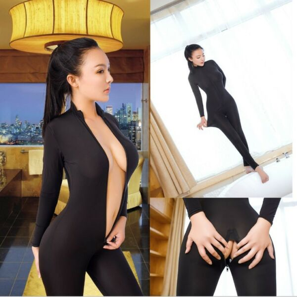 Womens Sexy Sheer Bodysuit CROTCH ZIPPER  Open Crotch Catsuit Jumpsuit Romper