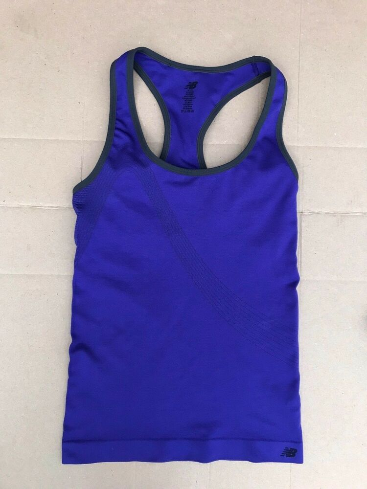 c2c5e693ebcbb Details about Womens New Balance Purple Seamless Racerback Tank Top Built  In Shelf Bra Size M