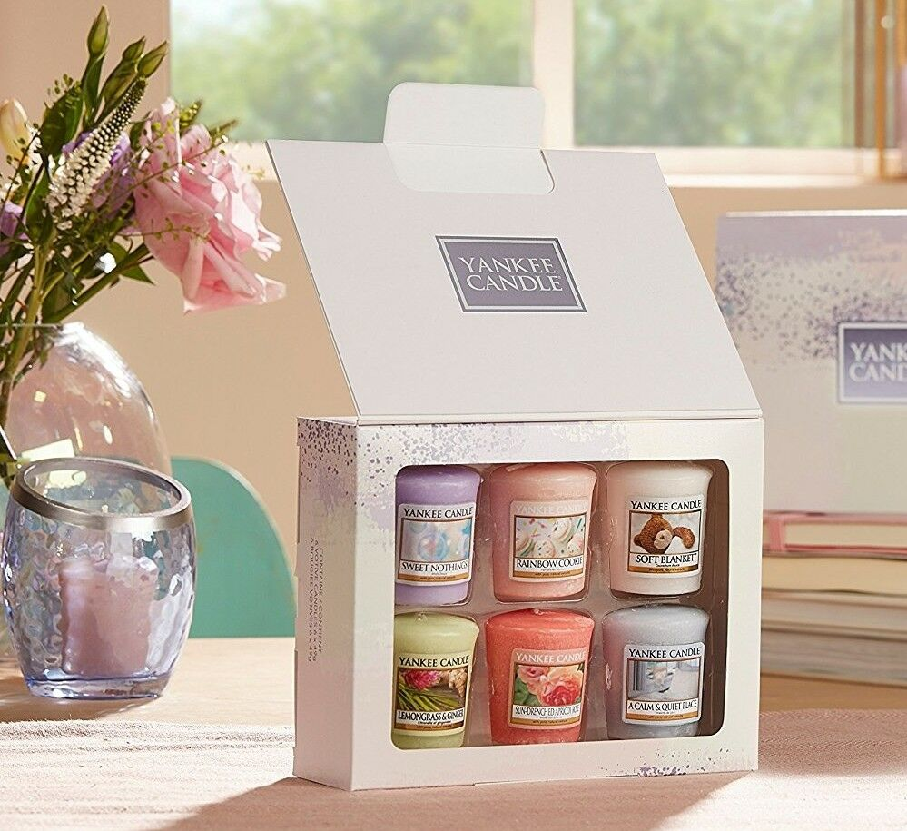 yankee candle 6 votive sampler candles gift set mothers. Black Bedroom Furniture Sets. Home Design Ideas