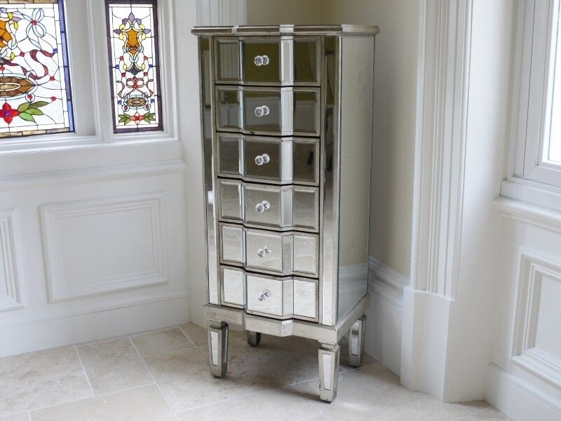 Venetian Mirrored 6 Drawer Silver Tall Boy Chest Narrow
