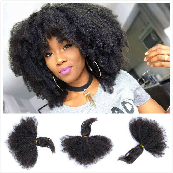 8a Braid In Bundles Brazilian Afro Kinky Curly Human Hair No Sew