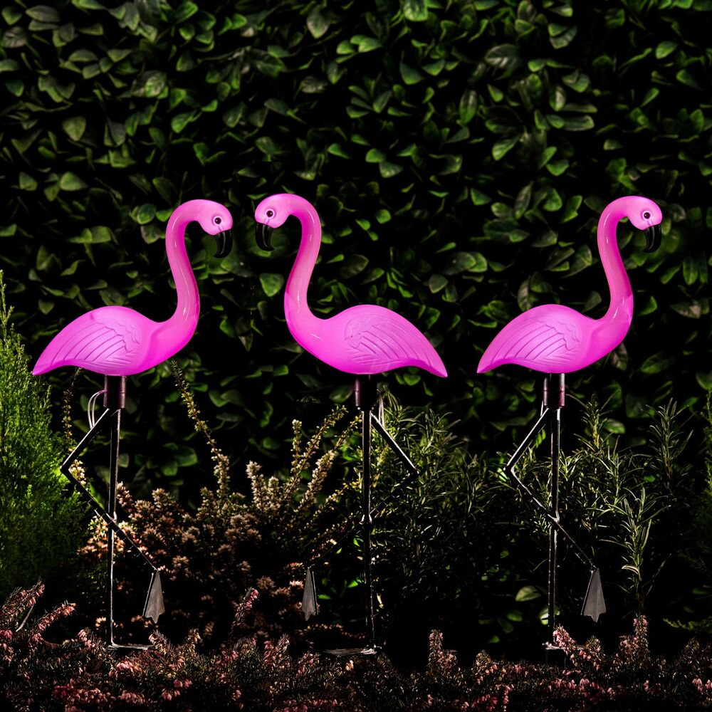 Solar Powered Pink Flamingo Ornament Set Of 3 Garden