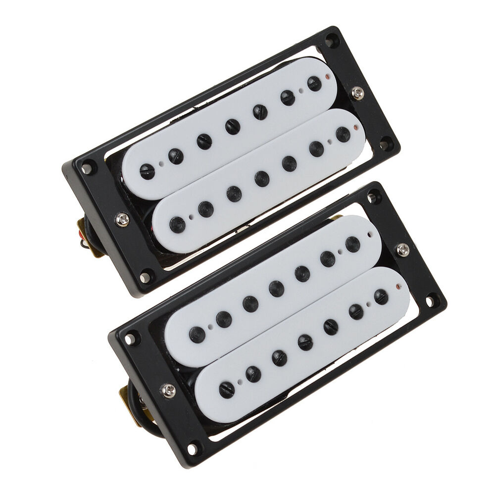 1 pair 7 string electric guitar pickup set double coil humbucker white parts ebay. Black Bedroom Furniture Sets. Home Design Ideas