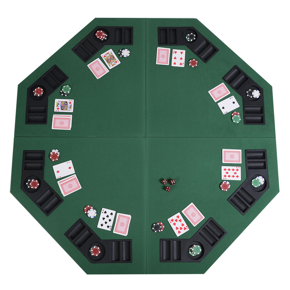 48 Quot Green Octagon 8 Player Four Fold Folding Poker Table