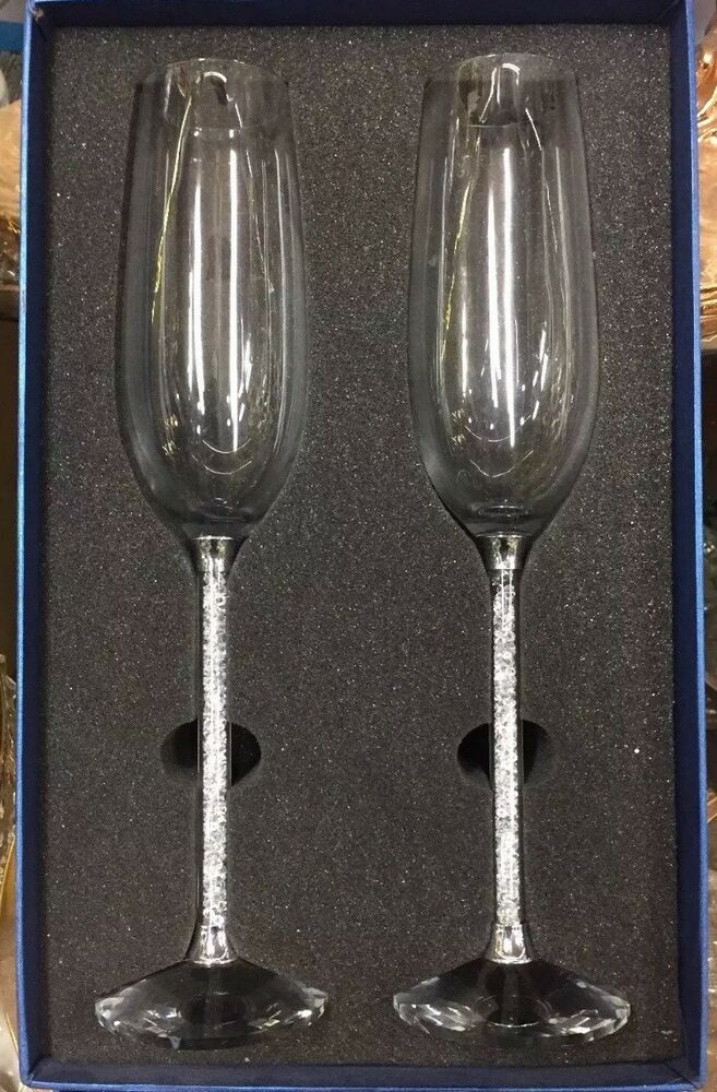 21a07f28674f Details about UK NEW CHAMPAGNE FLUTES WITH SWAROVSKI CRYSTAL FILLED STEM SET  OF 2 PAIR WEDDING