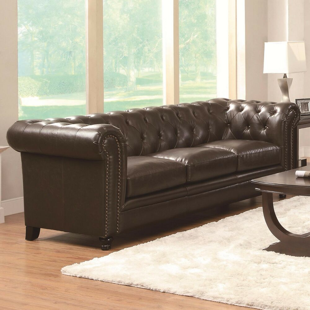 Details about traditional button tufted brown bonded leather sofa living room furniture