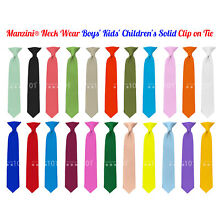 Manzini® Neck Wear Boys' Kids' Children's Solid Pre Tied Ready to Clip On Tie