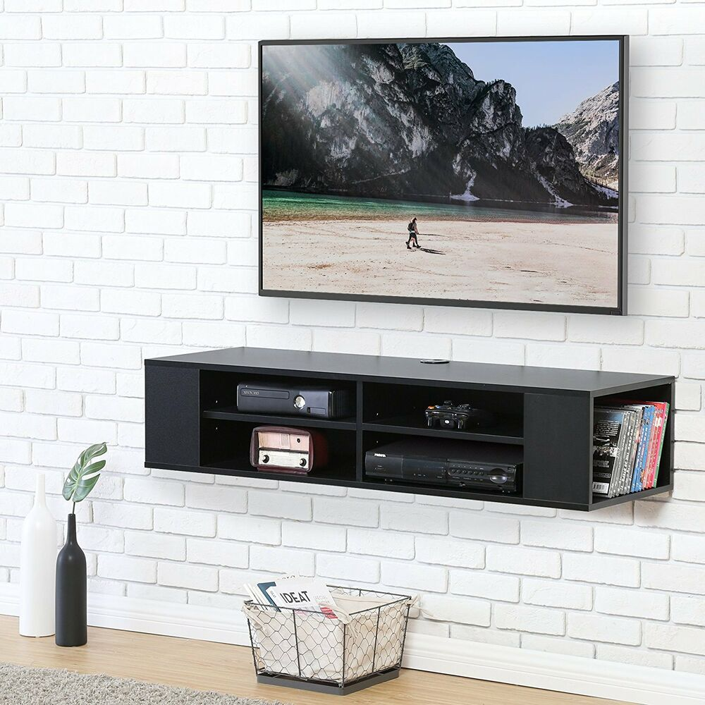 Floating Tv Stand Wall Mounted Media Console Video Game Center Black