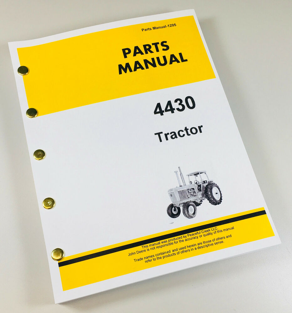 PARTS MANUAL FOR JOHN DEERE 4430 TRACTOR CATALOG ASSEMBLY EXPLODED VIEWS    eBay