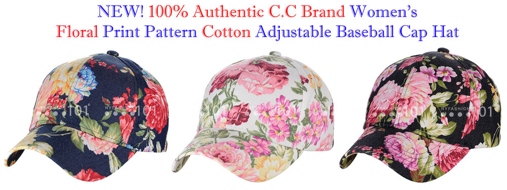 cf69a725865 NEW! C.C Women s Floral Print Pattern Cotton Adjustable CC Baseball ...