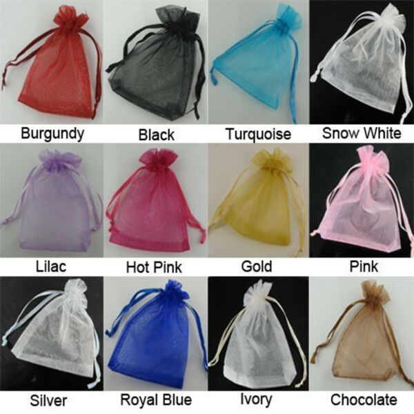 25pcs Organza Wedding Party Favor Decoration Gift Candy  Sheer Bags Pouches