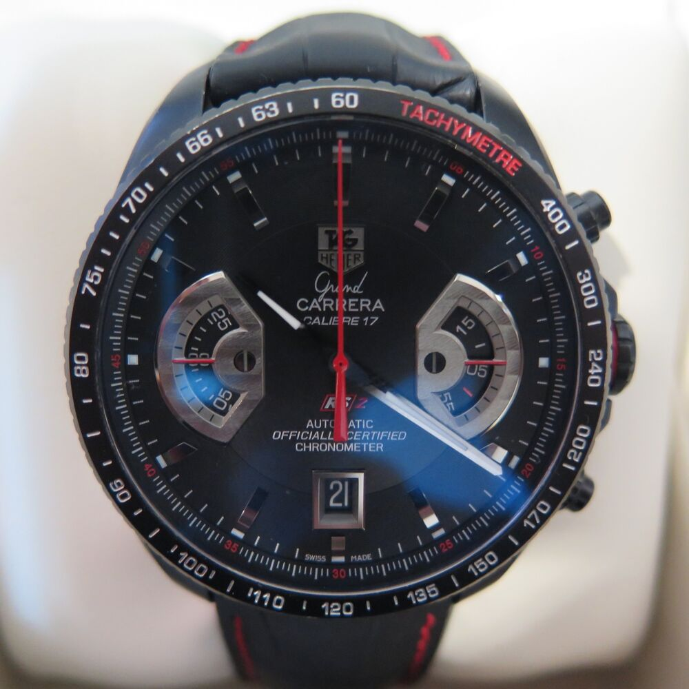 cc09a772ac6 Tag Heuer Grand Carrera Calibre 17 RS2 CAV518B Black Auto Chronograph Full  Set | eBay