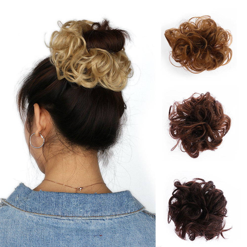 100 Natural Curly Messy Bun Hair Piece Scrunchie Real