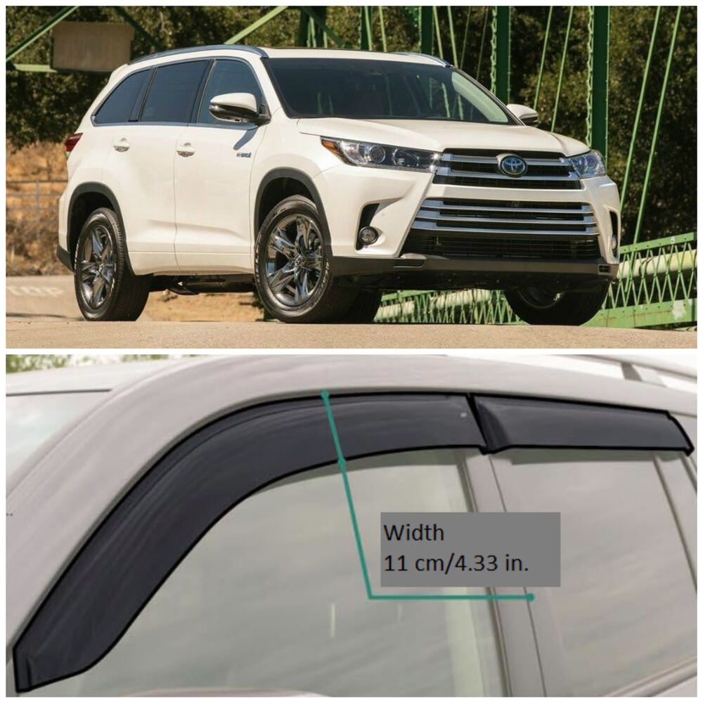 Details About Te27813 Window Visors Guard Vent Wide Deflectors For Toyota Highlander 2017 2018