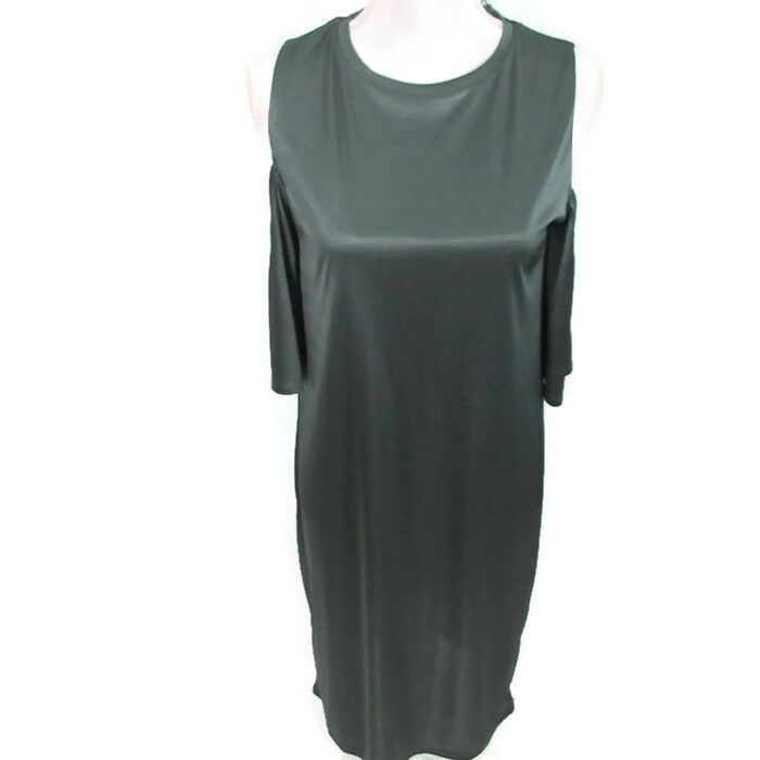 4633d412 Details about Zara Dress Silver Gray Shift Cold Shoulder Shiny Gray Silver  Dress Small