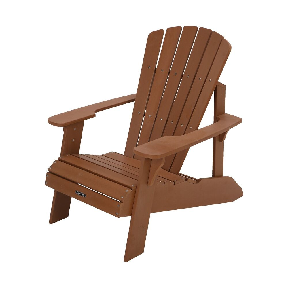 Details About Lifetime Faux Wood Adirondack Chair Light Brown Outdoor Furniture 60064 New
