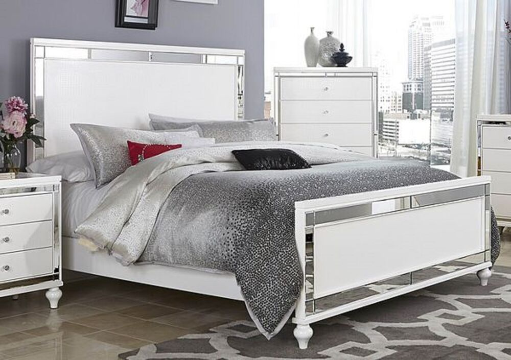 GLITZY 4 PC WHITE MIRRORED KING BED N/S DRESSER & MIRROR BEDROOM ...