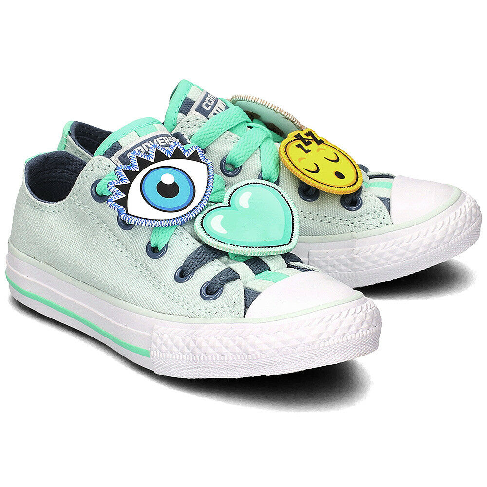 500ebdb70bb1 Details about Converse Kids Junior Chuck Taylor All Star Loopholes Ox Green  Various Sizes