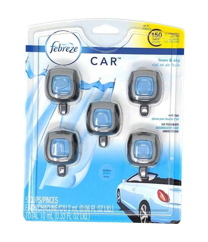 Febreze Car Vent Clips Air Freshener Odor Eliminator New: Febreze Car Vent Clips Air Freshener Linen And Sky 5 Pk