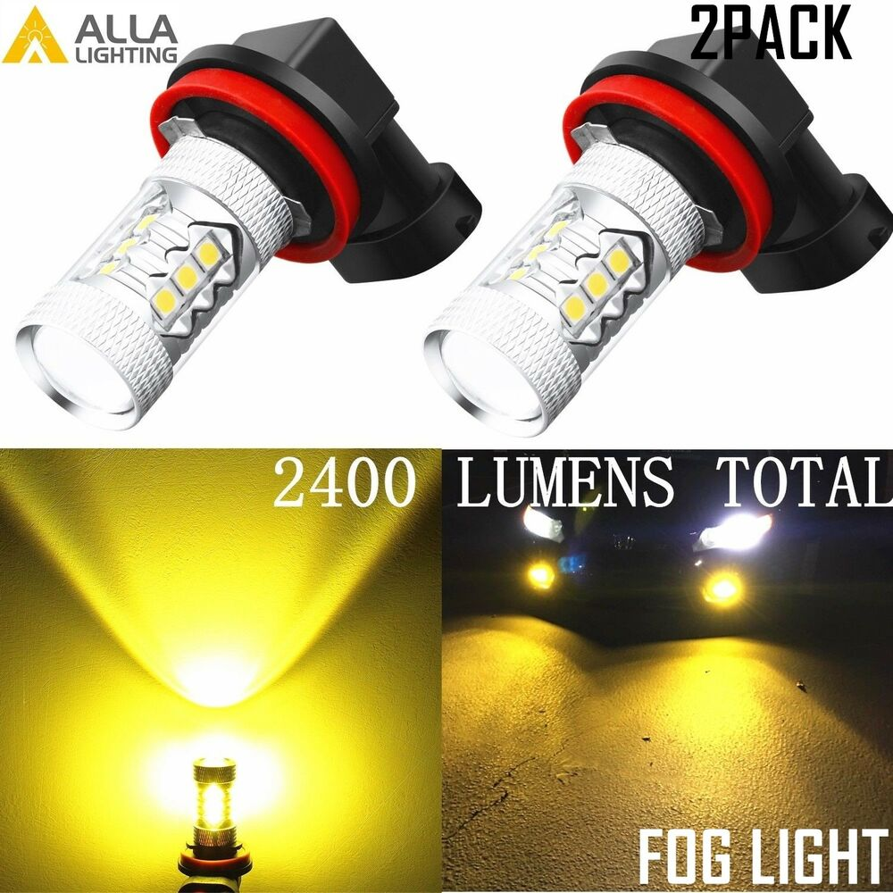 Alla Lighting 3000k Bright H11 16 Led Fog Light Driving Bulbs Lamp H16 2504 Ps24w Adapter For Lights Drl Relay Wiring Harness Ebay Golden Yellow