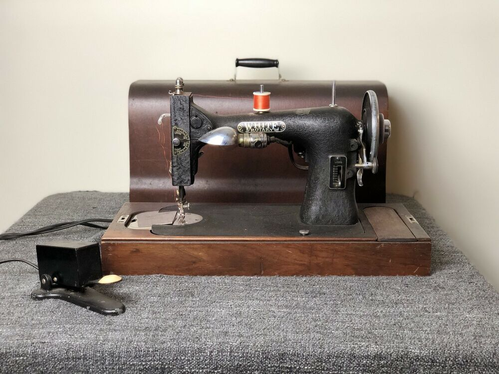 Antique White Rotary Sewing Machine 40 With Wooden Box EBay Fascinating 1927 White Rotary Sewing Machine